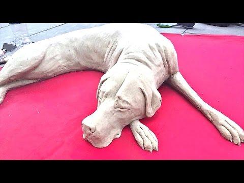 砂で出来た犬がリアルすぎるサンドアート♪
