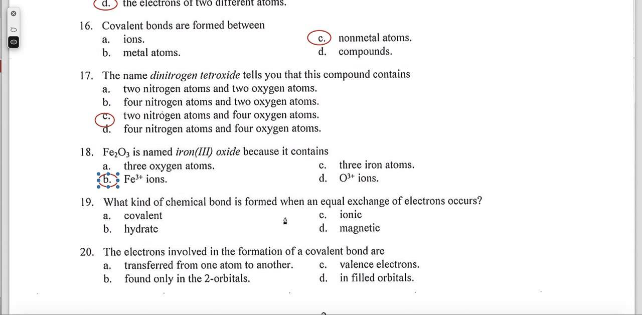Naming covalent bonds worksheet answers