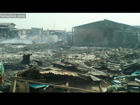 Video of devastation after fire at Lagos Market (Nigeria News)