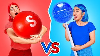 RED VS BLUE COLOR CHALLENGE || Eating Everything Only In 1 Color For 24 Hours By 123 GO! CHALLENGE