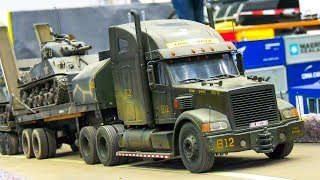 RC SCALE MODEL TANKS, MILITARY VEHICLES, TRUCKS IN ACTION!! / Modellbau Messe Wien 2017