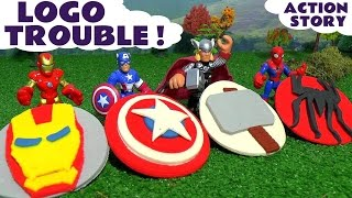 Spiderman Play Doh Logo Trouble with Avengers Iron Man & Captain America vs Lizard Stop Motion Fun