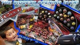 BIGGEST DISNEY CARS OPENING ON YOUTUBE EVER! EVERY TYPE OF DISNEY CARS MINI RACERS EVER MADE! Part 2