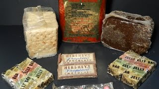 Eating 45 Year Old MRE US Coast Guard Survival Emergency Ration 1969-1970 Hersheys Tropical Bar