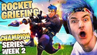 ROCKET GRIEFING! FORTNITE CHAMPION SERIES! W/ FAZE FUNK, NATE HILL & REVERSE2K