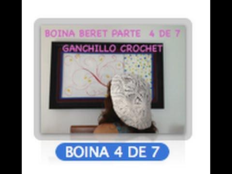 4 DE 7 COMO TEJER GORRO BOINA DISEÑO PIÑAS GANCHILLO CROCHET, DIY TUTORIAL
