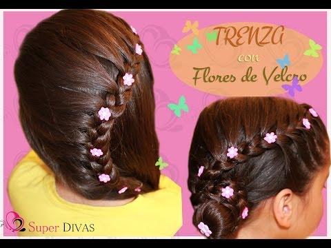 Peinado para fiesta - Trenza y flores de lado. Peinado infantil , para fiesta o novias.