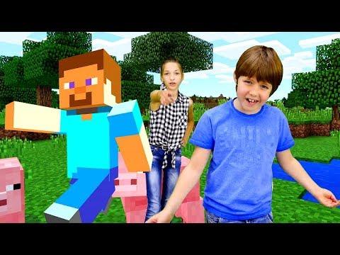 Эволюция МАЙНКРАФТ: Видеообзор с Адрианом и Светой. Игры для детей