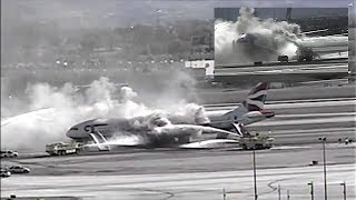 New Footage: British Airways Engine Fire At McCarran Airport (Las Vegas, 2015)