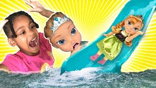Princess & Anna Toddler Kids Pool Party! Giant Water Slide Splash with a Disney Princess