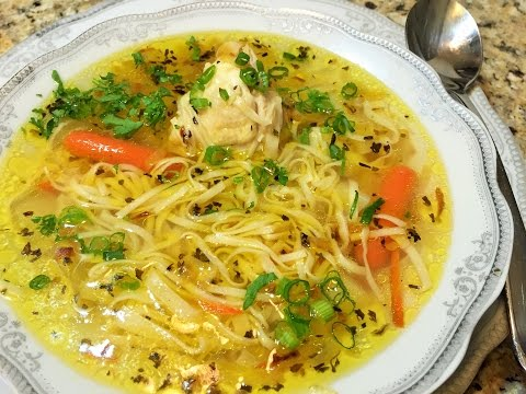 ДОМАШНЯЯ ЛАПША с курицей  (Chicken Soup with Homemade Noodles.)