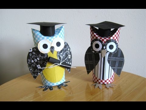 Make a graduation owl gift, with a toilet paper tube