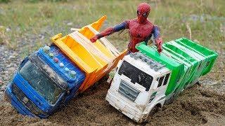 Construction for Kids | Excavator Dump Truck Crossing Broken Bridge | Spiderman Toys in Real Life