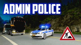 ETS 2 MP - Admin Police Controlling Busy Traffic At Road Works Site