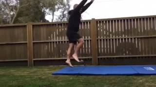 Dad Tries to Copy Daughter's Front Handspring