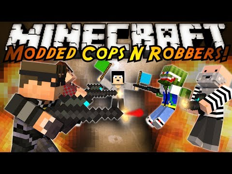 Minecraft Mini Game : MODDED COPS N ROBBERS PAINT BALL