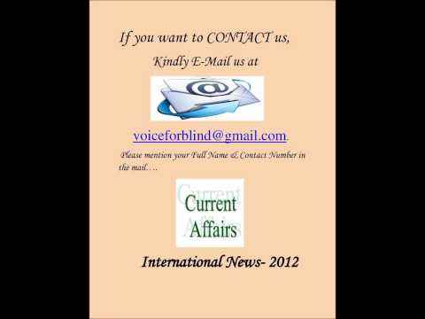 Current Affairs- 2012, International News (By Anita Sharma)