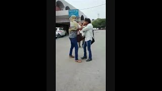 Girl Beating A Boy At Bus Stand Ambala Cant