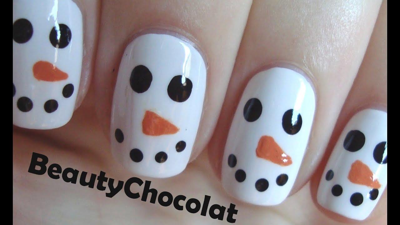 quick and easy christmas snowman nail art christmas