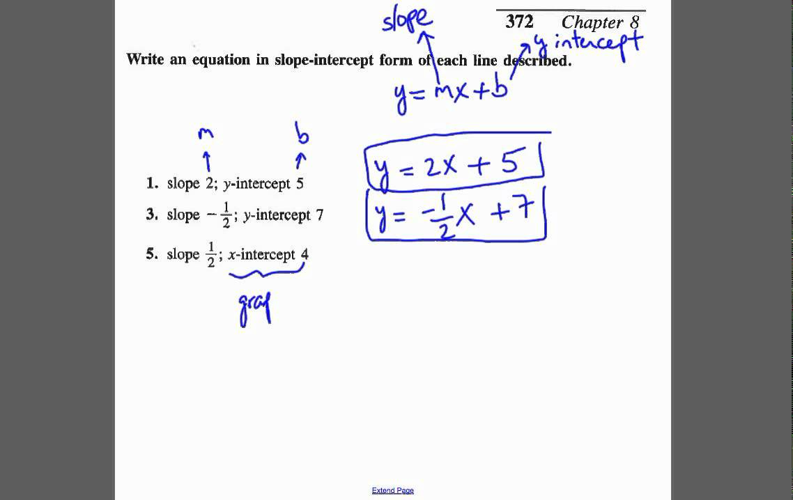 Write Equation Of Line Given The Slope And Y Intercept Or