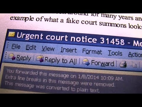 Email scam involving fake court summonses