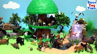 Toy Wildlife Animals in a Treehouse - Fun Toys For Kids