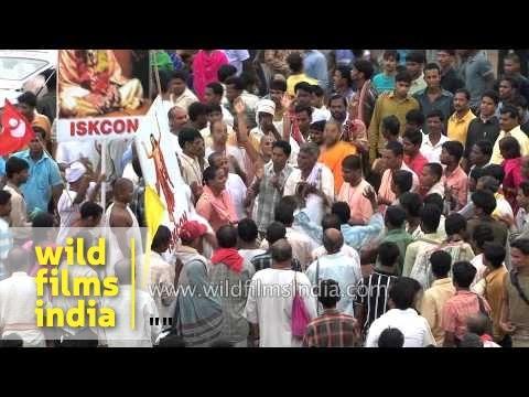ISKCON devotees participate at Lord Jagannath's Rath yatra in Puri