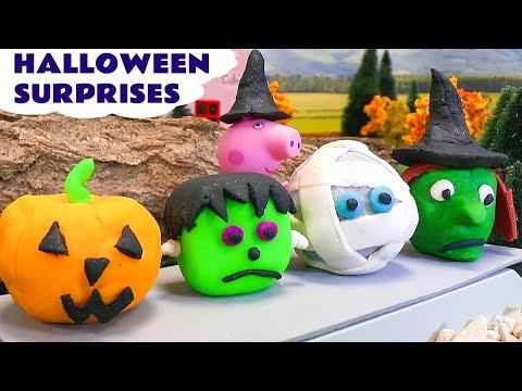 Peppa Pig Halloween Play Doh Surprise Toys Cars 2 Kids Thomas The Train Disney Princess Hello Kitty
