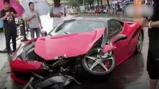 A costly crash: When a Ferrari hits a BMW