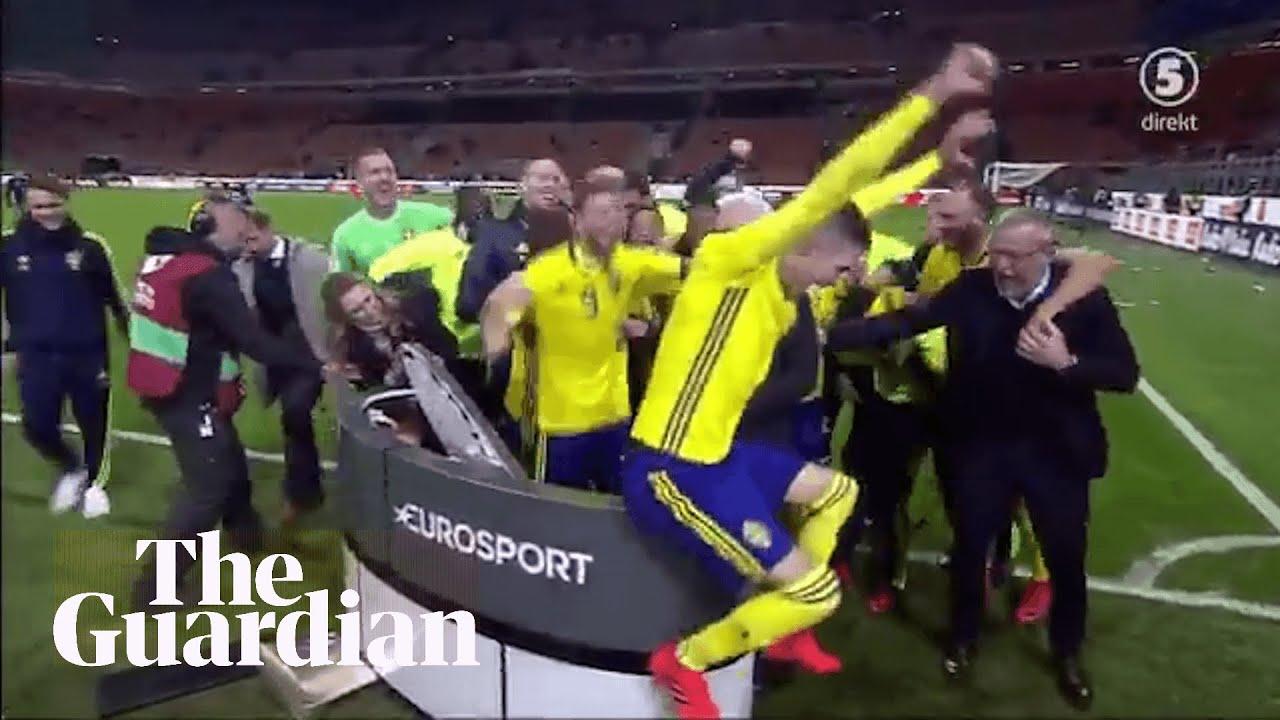 Sweden team crash TV broadcast celebrating place at World Cup