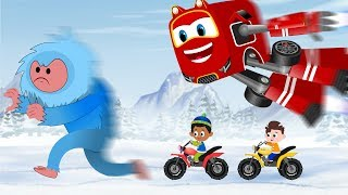 SuperCar Rikki Chases The Blue Yeti to Rescue Kids Stolen Toys | Christmas Cartoon Song