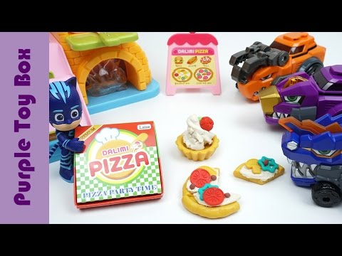PJ Masks And Dinosaurs Visit Pizza Shop, Dino Core Dinosaur Toys