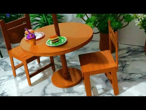 How to make a popsicle stick chair for doll - miniature crafts DIY