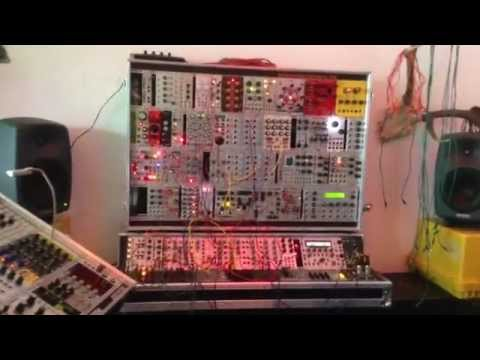 E-music students at analog/modular synth store in Berlin... teacher Meyland testing gear...