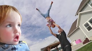 Super Adley Tricks!!  Family does a backyard obstacle course, Lava Floor, Alligators, and more!