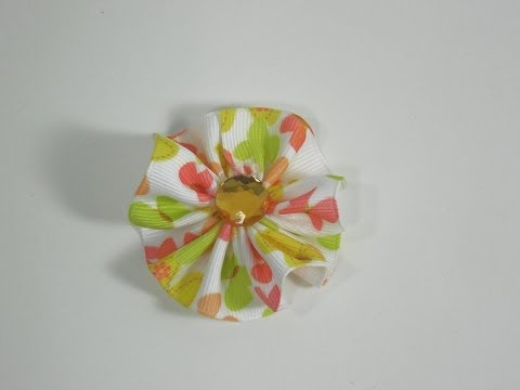 How To Make a Small Ribbon Circle Hair Bow/Clip