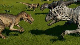 Jurassic World Evolution - 2 Allosaurus vs 2 Indominus Rex (1080p 60FPS)