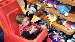 Baby Chris rearranging the stuffed animals 11-3-13