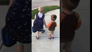 Easton's 1st day of school at the bus stop