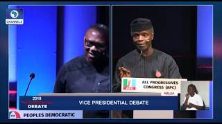 Vice-Presidential Debate Pt.8: Peter Obi, Osinbajo Disagree Over Subsidy On Petroleum Products