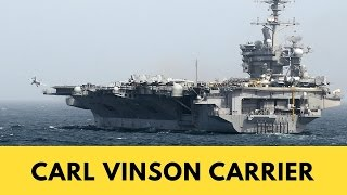 Planes taking off on the USS Carl Vinson Aircraft Carrier