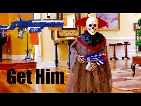Nerf War: The Battle  Flying Creepy Clown Ridiculous Nicholas