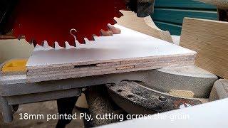 Dewalt DWS773 miter saw cutting Plywood across the grain