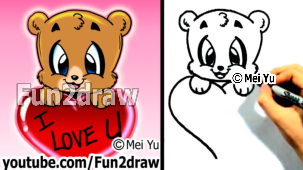 How To Draw A Bear With Valentines Heart Cute Art