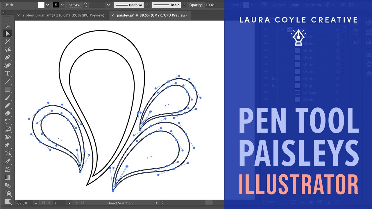 Drawing Lines With The Pen Tool : Illustrator tutorial pen tool paisleys youtube