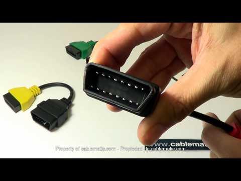 Adaptador de conector OBD II a Fiat® Alfa-Romeo® para FiatECUscan® distribuido por CABLEMATIC ®
