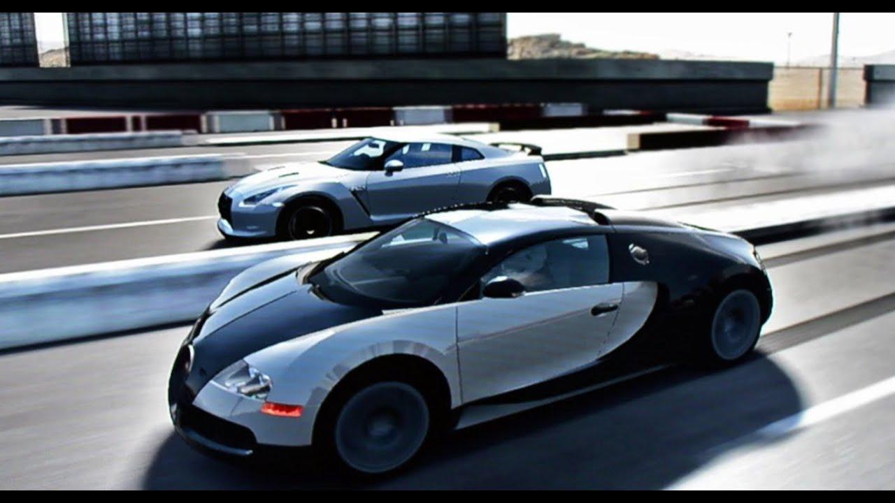bugatti veyron vs nissan gt r drag race youtube. Black Bedroom Furniture Sets. Home Design Ideas