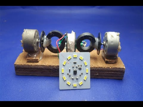 How to make  Free Energy Generator Light Bulbs Using DC Motor with Magnet thumbnail