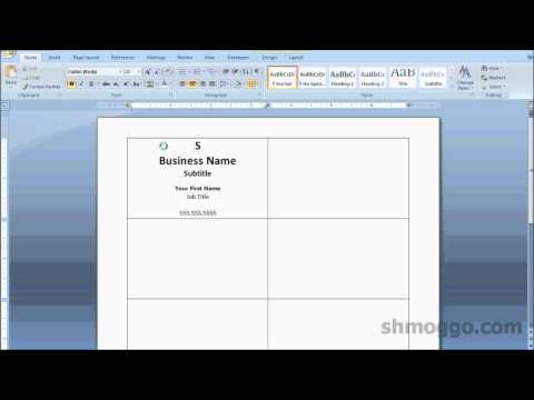 Microsoft Word 2007 Business Card Template