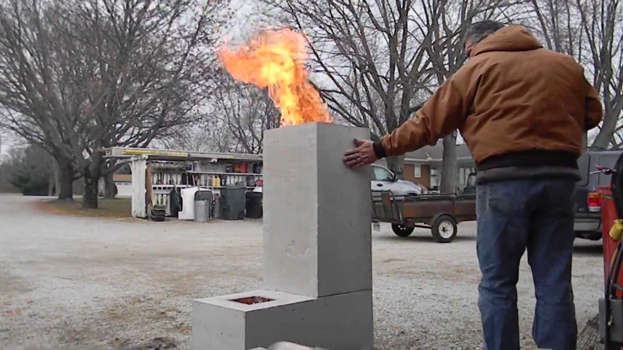 Burning out the core on a new rocket stove youtube for 4 block rocket stove